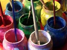 颜色罐 免版税库存图片