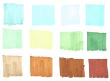 颜色聚焦条纹,横幅,刷子画与标志,设计的时髦的聚焦元素 皇族释放例证
