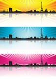 颜色背景巴黎地平线剪影 免版税图库摄影