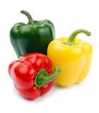 颜色色的绿色辣椒粉红色黄色 免版税库存照片