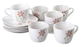 颜色花盆被打印的集合茶白色 免版税库存照片