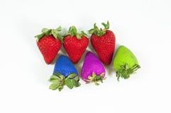 颜色草莓 免版税库存照片