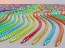 颜色蜡笔铅笔抽象背景线  免版税库存图片