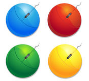 颜色计算机mouses 免版税图库摄影