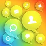 颜色讲话的抽象构成覆盖与现代媒介集成电路 免版税库存图片