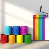 颜色选择绘的屋子 上色彩虹 库存图片