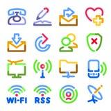 颜色通信等高图标系列 免版税库存图片