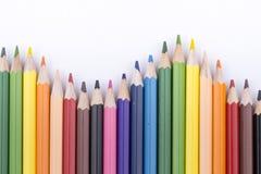 颜色铅笔和图画 库存照片