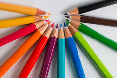 颜色铅笔按顺序概念 库存照片
