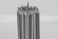 颜色铅笔捆绑铅笔的插入物中心 免版税库存照片