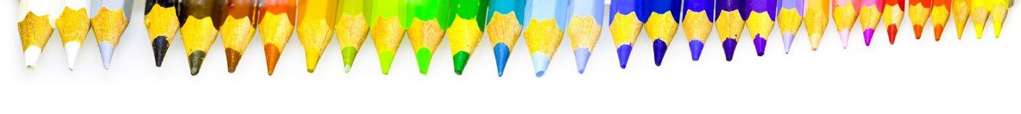 颜色铅笔收集 免版税图库摄影