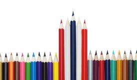 颜色铅笔旗子这泰国 免版税库存图片