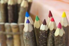 颜色铅笔木头 免版税库存照片