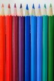 颜色铅笔调色板关闭 免版税库存照片
