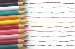颜色铅笔足迹 图库摄影