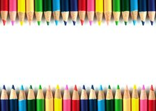 颜色铅笔隔绝了framebackground 库存照片