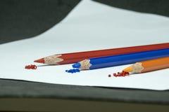 颜色铅笔,颜色铅笔刮脸 免版税图库摄影