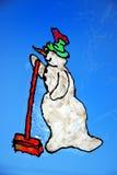 颜色雪人视窗 图库摄影