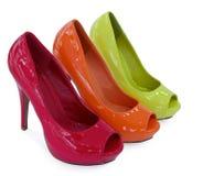 颜色鞋子三妇女 图库摄影