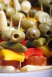 颜色食物当事人快餐 免版税库存图片