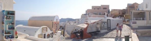 颜色,生活在Oia,圣托里尼 免版税库存照片