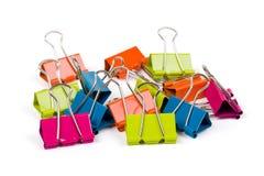 颜色黏合剂夹子堆  免版税库存照片