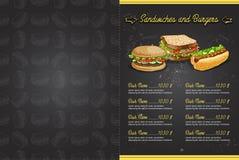 颜色水平的菜单设计 免版税库存图片