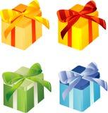 颜色giftboxes许多 免版税库存图片