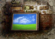 颜色grunge横向墙壁 免版税库存照片