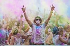 颜色Holi节日一个党 库存图片