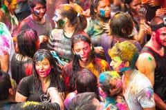 颜色Holi节日在吉隆坡,马来西亚 库存图片