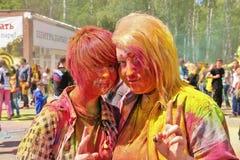 颜色Holi节日在图拉,俄罗斯 免版税库存照片