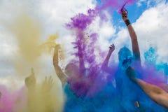 颜色Holi节日,印度 库存照片