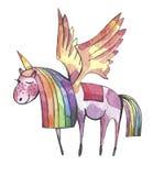 额嘴装饰飞行例证图象其纸部分燕子水彩 与彩虹鬃毛和尾巴的逗人喜爱的独角兽 向量例证