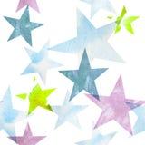 额嘴装饰飞行例证图象其纸部分燕子水彩 透明星的样式温暖绿色,蓝色,淡紫色树荫 库存图片