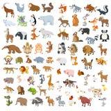 额外大被设置的动物和鸟 免版税库存照片
