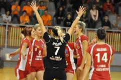 额外的frydek同盟mistek小组排球妇女 免版税库存照片
