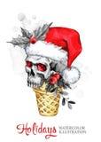 额嘴装饰飞行例证图象其纸部分燕子水彩 与头骨的手画奶蛋烘饼锥体在圣诞老人帽子 滑稽的冰淇凌点心 圣诞节新年度 库存照片