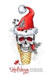 额嘴装饰飞行例证图象其纸部分燕子水彩 与头骨的手画奶蛋烘饼锥体在圣诞老人帽子 滑稽的冰淇凌点心 圣诞节新年度 免版税库存图片