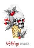 额嘴装饰飞行例证图象其纸部分燕子水彩 与头骨的手画奶蛋烘饼锥体 滑稽的冰淇凌点心 圣诞节,新年标志 库存照片