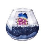 额嘴装饰飞行例证图象其纸部分燕子水彩 多汁植物的构成 花卉desig 图库摄影