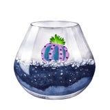 额嘴装饰飞行例证图象其纸部分燕子水彩 多汁植物的玻璃容器 免版税库存照片