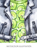 额嘴装饰飞行例证图象其纸部分燕子水彩 手画皮夹克用新鲜的苹果 健康样式 免版税库存照片
