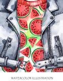 额嘴装饰飞行例证图象其纸部分燕子水彩 手画皮夹克用新鲜的西瓜 健康样式 库存照片