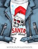 额嘴装饰飞行例证图象其纸部分燕子水彩 有头骨的手画皮夹克在圣诞老人帽子 词圣诞老人不是死的 岩石样式女孩 免版税库存图片