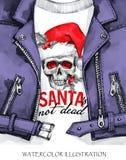 额嘴装饰飞行例证图象其纸部分燕子水彩 有头骨的手画皮夹克在圣诞老人帽子 词圣诞老人不是死的 岩石样式女孩 库存照片