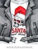 额嘴装饰飞行例证图象其纸部分燕子水彩 有头骨的手画皮夹克在圣诞老人帽子 词圣诞老人不是死的 岩石样式女孩 库存图片