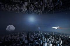 颠倒的城市,科学幻想小说城市抽象背景  免版税库存图片