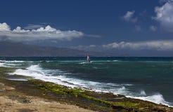 风冲浪者享用五颜六色的Hookipa公园 图库摄影