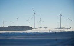 风力厂在冬天 图库摄影